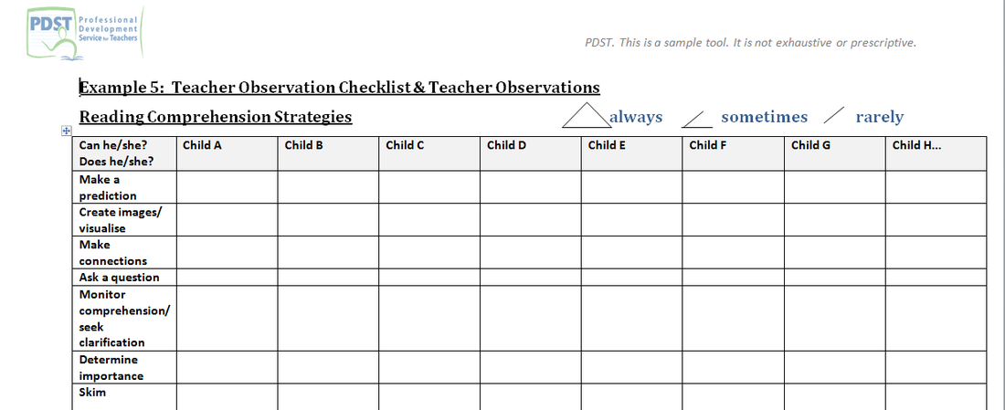 teachers observation checklist