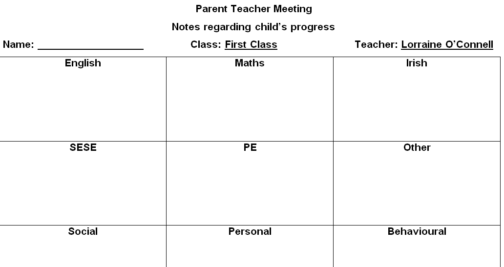 parent teacher meeting report template - parent teacher meetings the healthy happy teacher